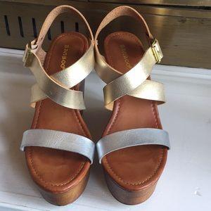 Bamboo metallic multi tone wedge sandals Sz 8